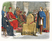 Harold II (c1020-1066) last Anglo-Saxon king of England (1066): Harold swearing an oath on sacred relics (c1064) before William of Normandy to support his claim to the English throne on death of Edward the Confessor. Harold's failure to honour this suppos