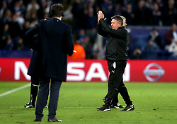 Leicester City manager Craig Shakespeare applauds the fans after the win over Sevilla - Mandatory by-line: Robbie Stephenson/JMP - 14/03/2017 - FOOTBALL - King Power Stadium - Leicester, England - Leicester City v Sevilla - UEFA Champions League round of 16, second leg