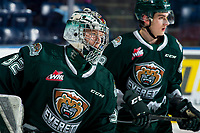 KELOWNA, BC - FEBRUARY 28: Dustin Wolf #32 of the Everett Silvertips warms up against the Kelowna Rockets at Prospera Place on February 28, 2020 in Kelowna, Canada. Wolf was selected in the 2019 NHL entry draft by the Calgary Flames. (Photo by Marissa Baecker/Shoot the Breeze)