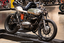 """The Manipulated"", a custom BSA A65 cafe racer built by J Shia and Mike Ulman of Madhouse Motors in Boston at the Handbuilt Show. Austin, TX. USA. Friday April 20, 2018. Photography ©2018 Michael Lichter."