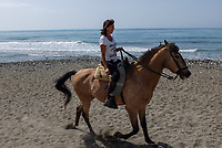 Horsewoman has a leisurely Sunday morning canter along the shore between Puerto Banus and San Pedro de Alcantara. April, 2017, 201704233487<br />