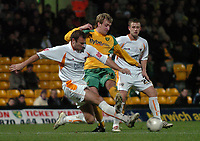 Photo: Ashley Pickering.<br /> Norwich City v Blackpool. The FA Cup. 13/02/2007.<br /> Chris Brown of Norwich (yellow) and  Ian Evatt of Blackpool (L)