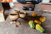 These pots are directly collected from the ground and shaped with a small round stone. Papaya is a common tropical fruit (Katoonarib, Guyana).