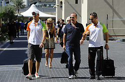 11.11.2011, Yas-Marina-Circuit, Abu Dhabi, UAE, Grosser Preis von Abu Dhabi, im Bild Adrian Sutil (GER), Force India Formula One Team - Manfred Zimmermann (GER) Manager of Adrian Sutil  // during the Formula One Championships 2011 Large price of Abu Dhabi held at the Yas-Marina-Circuit, 2011-11-11. EXPA Pictures © 2011, PhotoCredit: EXPA/ nph/ Dieter Mathis..***** ATTENTION - OUT OF GER, CRO *****