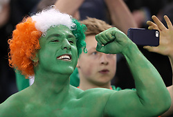 A Republic of Ireland fan in fancy dress during the 2018 FIFA World Cup Qualifying, Group D match at the Aviva Stadium, Dublin.