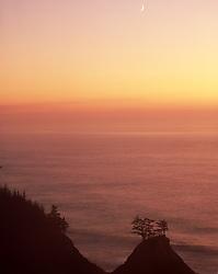 Sunset, Crescent Moon, rugged Oregon Coast