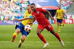 July 7, 2018 - Samara, RUSSIA - 180707 Andreas Granqvist of Sweden competes for the ball with Raheem Sterling of England during the FIFA World Cup quarter final match between Sweden and England on July 7, 2018 in Samara..Photo: Joel Marklund / BILDBYRÃ…N / kod JM / 87755 (Credit Image: © Joel Marklund/Bildbyran via ZUMA Press)