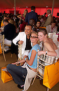 Julian Macdonald, Jodie Kidd and  Camilla Rutherford, Veuve Clicquot Gold Cup, Polo at Cowdray, 18 July 2004. SUPPLIED FOR ONE-TIME USE ONLY> DO NOT ARCHIVE. © Copyright Photograph by Dafydd Jones 66 Stockwell Park Rd. London SW9 0DA Tel 020 7733 0108 www.dafjones.com