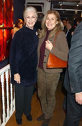 Left to right, BARONESS FIONA THYSSEN-BORNEMISZA and YVONNE VITOS at a private view sculptures, drawings and Maquettes by Aly Brown held at Lucy B Campbell Fine Art, 123 Kensington Church Street, London W8 on 22nd November 2005.<br />