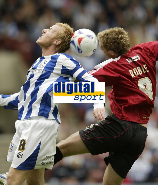 Photo: Aidan Ellis.<br /> Huddersfield Town v Bristol City. Coca Cola League 1. 12/08/2006.<br /> Bristol's David Noble battles with Huddersfield's Jon Worthington