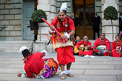 "© Licensed to London News Pictures. 24/09/2018. LONDON, UK. Members from Tonga and Ngati Ranana, the London Maori Club, take part in a ceremonial procession and blessing ceremony for the forthcoming ""Oceania"" exhibition at the Royal Academy of Arts.  The exhibition runs 29 September – 10 December 2018, representing the art of Melanesia, Micronesia and Polynesia, encompassing the vast Pacific region from New Guinea to Easter Island, Hawaii to New Zealand.  Photo credit: Stephen Chung/LNP"