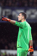 Everton Goalkeeper Joel Robles makes his point. The Emirates FA cup, 3rd round match, Everton v Dagenham & Redbridge at Goodison Park in Liverpool on Saturday 9th January 2016.<br /> pic by Chris Stading, Andrew Orchard sports photography.
