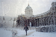 St Petersburg, Russia, January 2003..Kazansky Cathedral on Nevsky Prospect as winter temperatures plunged to -35C..