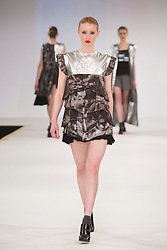 © Licensed to London News Pictures. 01/06/2015. London, UK. Collection by Georgia Richardson. Fashion show of the Manchester School of Art at Graduate Fashion Week 2015. Graduate Fashion Week takes place from 30 May to 2 June 2015 at the Old Truman Brewery, Brick Lane. Photo credit : Bettina Strenske/LNP