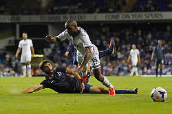 29.08.2013, White Hart Lane, London, ENG, UEFA CL Qualifikation, Tottenham Hotspur vs FC Dinamo Tiflis, Rueckspiel, im Bild Dinamo Tbilisi's David Khurtsilava tackles Tottenham's Jermain Defoe for which Defoe received a yellow card for alleged diving during the UEFA Europa League Qualifier second leg match between Tottenham Hotspur and FC Dinamo Tiflis Zuerich at the White Hart Lane in London, England on 2013/08/29 . EXPA Pictures © 2013, PhotoCredit: EXPA/ Mitchell Gunn <br /> <br /> ***** ATTENTION - OUT OF GBR *****