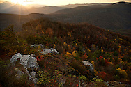 Evening and Fall colors as seen from a ridge just above Little Table Rock and overlooking the Linville Gorge, North Carolina