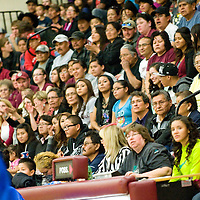 030113  Adron Gardner/Independent<br /> <br /> Navajo Nation President Ben Shelly, right, takes in the Districk 1-2A final game between the Ramah Mustangs and Navajo Pine Warriors l in Ramah Saturday.