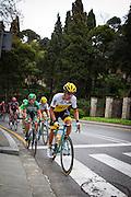 Primož Roglic of Lotto Jumbo leads the breakawayas it  climbs Montjuic, Barcelona, on the last stage of the Volta Catalunya 2016 cycling race. The leader, Nairo Quintana, successfully defending his jersey from Alberto Contador and Dan Martin.<br /> <br /> Primerž Roglic de Lotto Jumbo porta l'escapada a mesura que ascendeix Montjuïc, Barcelona, en l'última etapa de la cursa ciclista Volta Catalunya 2016. El líder, Nairo Quintana, defensant amb èxit el seu mallot d'Alberto Contador i Dan Martin.El gran grup puja Montjuïc, Barcelona, en l'última etapa de la cursa ciclista Volta Catalunya 2016. El líder, Nairo Quintana, defensant amb èxit el seu mallot d'Alberto Contador i Dan Martin.