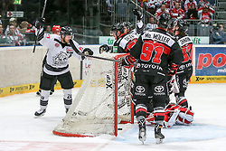 19.12.2014, Lanxess Arena, Koeln, GER, DEL, Koelner Haie vs Nuernberg Ice Tigers, 28. Runde, im Bild Connor James (Nuernberg Ice Tigers) jubelt ueber den Anschlusstreffer zum 3:2 // during Germans DEL Icehockey League 28th round match between Koelner Haie vs Nuernberg Ice Tigers at the Lanxess Arena in Koeln, Germany on 2014/12/19. EXPA Pictures © 2014, PhotoCredit: EXPA/ Eibner-Pressefoto/ Kohring<br /> <br /> *****ATTENTION - OUT of GER*****