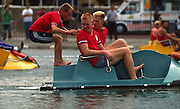 London, GREAT BRITAIN,   Dragon Boat's, pleasure Rowing Boats on the Serpentine Lake in London's Hyde Park [Photo Peter Spurrier/Intersport-images]
