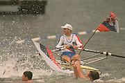 Tampere FINLAND,  Iztok COP, celebrating after winning the men's single sculls at the 1995 World rowing Championships Lake Tampere  [Mandatory Credit: Peter Spurrier/ Intersport Images]