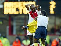 Photo: Scott Heavey.<br />Arsenal v Bolton. FA Barclaycard Premiership. 20/03/2004.<br />Patrick Vieira swaps shirts with Jay-Jay Okocha after the historic victory