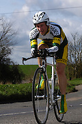United Kingdom, Finchingfield, Mar 27, 2010:  Graham Painter, Chelmer CC, approaches the 4 miles to go marker during the 2010 edition of the 'Jim Perrin' Memorial Hardriders 25.5 mile Sporting TT promoted by Chelmer Cycling Club. Copyright 2010 Peter Horrell.