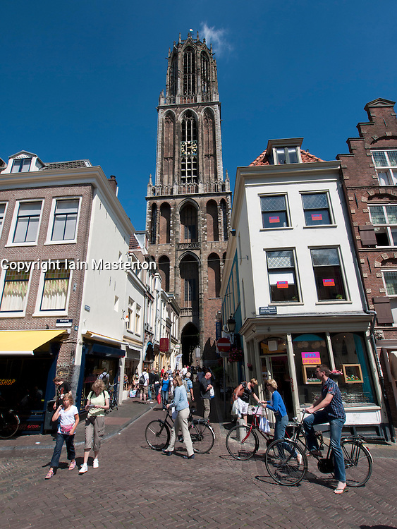 Busy streets in historic district of  central Utrecht in the Netherlands