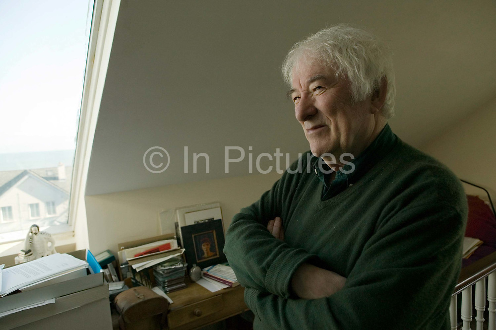 """Seamus Heaney, Nobel prize winning Poet, at home photographed shortly before the launch of his latest collection of poems """"District and Circle """". Seamus died August 30, 2013."""
