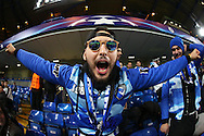 a Porto fan cheering  before k/o. UEFA Champions league group G match, Chelsea v Porto at Stamford Bridge in London on Wednesday 9th December 2015.<br /> pic by John Patrick Fletcher, Andrew Orchard sports photography.