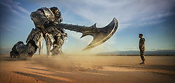 Left to right: Megatron and Josh Duhamel as Lennox in TRANSFORMERS: THE LAST KNIGHT, from Paramount Pictures.