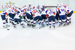 Players of Slovenia during Friendly Ice-hockey match between National teams of Slovenia and Austria on April 19, 2013 in Ice Arena Tabor, Maribor, Slovenia. (Photo By Vid Ponikvar / Sportida)