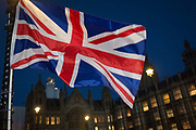 As the vote of no confidence for Prime Minister Theresa Mays leadership in the Conservative Party occurs because of her handling of the Brexit deal with the EU, a Union Jack flag flies opposite Parliament in Westminster, on 12th December 2018, in London, England.