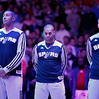 18 February 2014: San Antonio Spurs power forward Boris Diaw (33), San Antonio Spurs point guard Patty Mills (8) and San Antonio Spurs point guard Nando de Colo (25) are seen during the national anthem prior to the San Antonio Spurs 113-103 victory over the Los Angeles Clippers at the Staples Center, Los Angeles, California, USA.