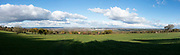 Panoramic landscape view from Cleehill near Birmingham, United Kingdom. Cleehill is a village in south Shropshire, England. It is sometimes written as Clee Hill Village to avoid confusion. It lies in the civil parish of Caynham.