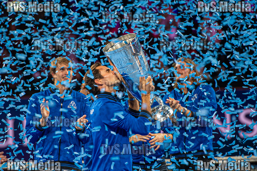 GENEVA, SWITZERLAND - SEPTEMBER 22: Roger Federer of Team Europe celebrates with the trophy after winning against Team World during Day 3 of the Laver Cup 2019 at Palexpo on September 20, 2019 in Geneva, Switzerland. The Laver Cup will see six players from the rest of the World competing against their counterparts from Europe. Team World is captained by John McEnroe and Team Europe is captained by Bjorn Borg. The tournament runs from September 20-22. (Photo by Robert Hradil/RvS.Media)