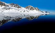 Magdelenefjord (Magdalenafjorden) in north-west Spitsbergen in Svalbard a summernight in June.