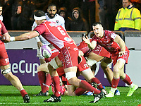 Rugby Union - 2019 / 2020 European Rugby Challenge Cup - Pool Two: Scarlets vs. Toulon<br /> <br /> Gareth Davies;  of Llanelli Scarlets passes the ball to his close support Aaron Shingler,  of Llanelli Scarlets, at Parc y Scarlets, Llanelli.<br /> <br /> COLORSPORT/WINSTON BYNORTH