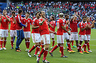 Gareth Bale of Wales (c)  celebrates with his teammates  at the end of the match as Wales win 1-0 to book a place in the quarter-finals. UEFA Euro 2016, last 16 , Wales v Northern Ireland at the Parc des Princes in Paris, France on Saturday 25th June 2016, pic by  Andrew Orchard, Andrew Orchard sports photography.