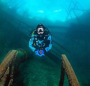 Scuba diver on the platform at Pump House site at Dutch Springs, Scuba Diving Resort in Pennsylvania
