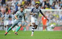 West Bromwich Albion's Nathan Ferguson under pressure from Blackburn Rovers' Adam Armstrong<br /> <br /> Photographer Kevin Barnes/CameraSport<br /> <br /> The EFL Sky Bet Championship - West Bromwich Albion v Blackburn Rovers - Saturday 31st August 2019 - The Hawthorns - West Bromwich<br /> <br /> World Copyright © 2019 CameraSport. All rights reserved. 43 Linden Ave. Countesthorpe. Leicester. England. LE8 5PG - Tel: +44 (0) 116 277 4147 - admin@camerasport.com - www.camerasport.com