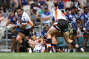 Wests Tigers Joseph Leilua in action in the NRL Trial, Vodafone Warriors v Wests Tigers, Rotorua Stadium, Rotorua, Sunday, March 01, 2020. Copyright photo: Kerry Marshall / www.photosport.nz