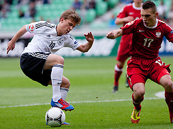 Maximilian Meyer of Germany vs Rafal Wlodarczyk of Poland during the UEFA European Under-17 Championship Group A semifinal match between Germany and Poland on May 13, 2012 in SRC Stozice, Ljubljana, Slovenia. Germany defeated Poland 1:0. (Photo by Matic Klansek Velej / Sportida.com)