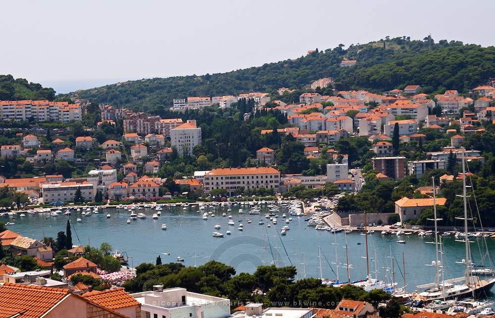 View over the harbour and the modern part of the city. Luka Gruz harbour. Dubrovnik, new city. Dalmatian Coast, Croatia, Europe.