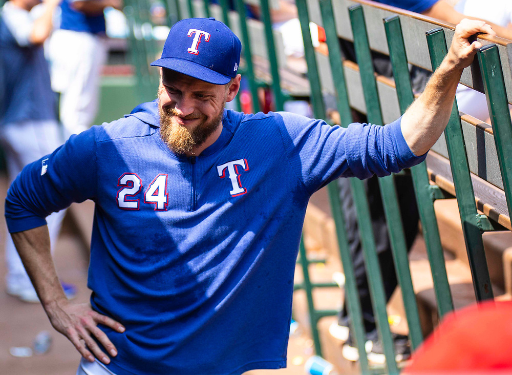 Aug 01 2019, Arlington, TX  U.S.A.  Texas right fielder Hunter Pence (24) in the dugout during the MLB game between the Seattle Mariners and the Texas Rangers 11-3 lost at Globe Life Park in Arlington,TX. Thurman James / CSM