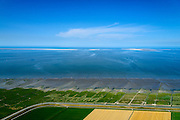 Nederland, Groningen, Gemeente De Marne, 05-08-2014; Pieterburenwad met kwelders en landaanwinning, grenzend aan de Linthorst-Homanpolder (drooggelegde slikken, 1941)<br /> Salt marshes and land reclamation, next to the Linthorst-Homan polder (reclaimed mudplat, polder since 1941)<br /> luchtfoto (toeslag op standard tarieven);<br /> aerial photo (additional fee required);<br /> copyright foto/photo Siebe Swart