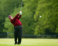 Photograph: Scott Heavey<br />Volvo PGA Championship At Wentworth Club. 23/05/2003.<br />Colin Montgomerie lashes at the ball on the 17th.