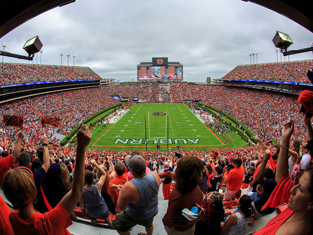 A detail view of Jordan–Hare Stadium during an NCAA football game between the Mississippi Rebels and the Auburn Tigers, Saturday, October 7, 2017, in Auburn, AL. Auburn won 44-23. (Paul Abell via Abell Images for Chick-fil-A Peach Bowl)