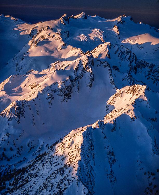 Mount Olympus, morning light, winter, aerial view, Olympic National Park, Washington, USA