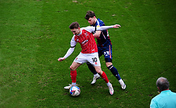 Alfie May of Cheltenham Town tries to hold off Connor Wood of Bradford City- Mandatory by-line: Nizaam Jones/JMP - 20/02/2021 - FOOTBALL - Jonny-Rocks Stadium - Cheltenham, England - Cheltenham Town v Bradford City - Sky Bet League Two